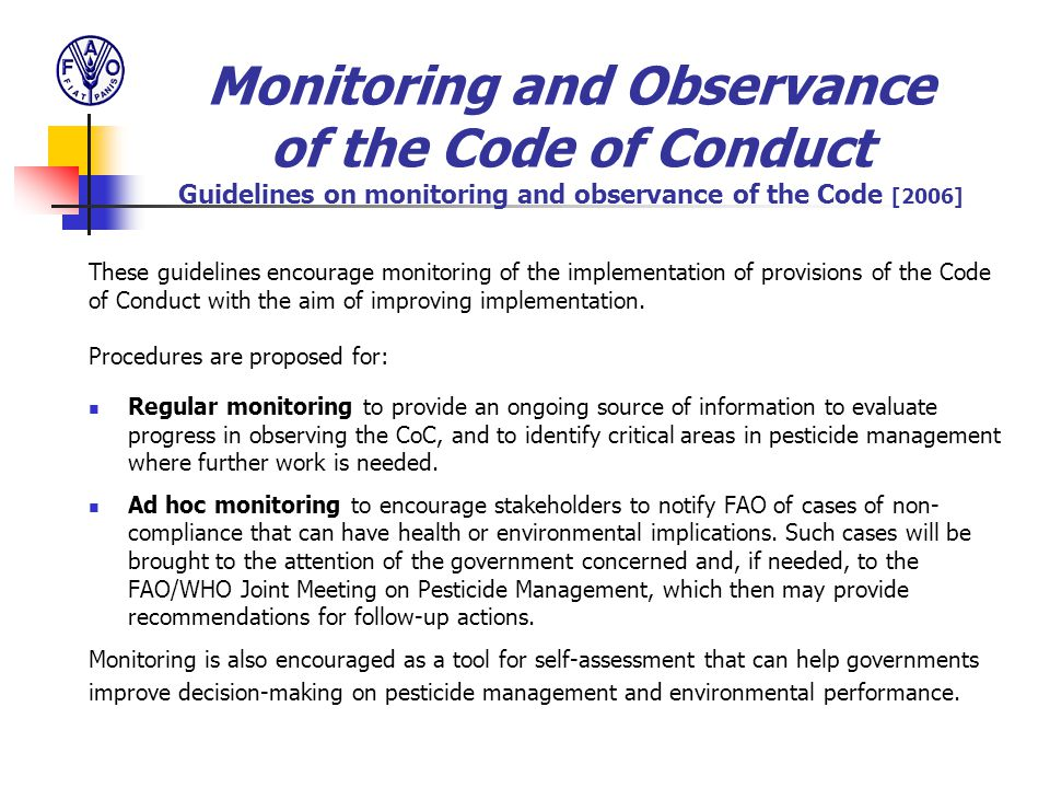 Monitoring and Observance of the Code of Conduct Guidelines on monitoring and observance of the Code [2006]